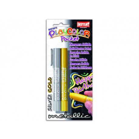PlayColor pocket stilo tempera solida 2pz oro + argento